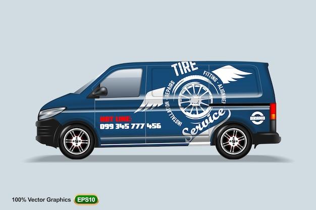 Serviço de pneus. blue delivery van template. com propaganda, layout editável.