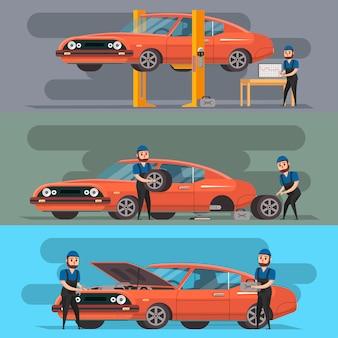 Serviço de pneus e conjunto de reparação de automóveis