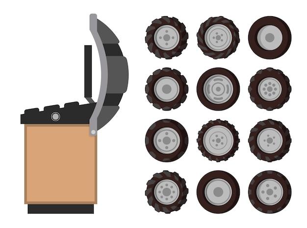 Serviço de pneus, emblema, em estilo cartoon