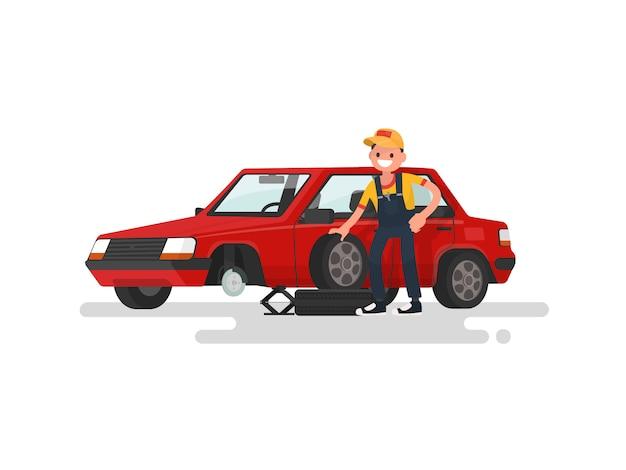 Serviço de pneus. trabalhador, trocar um pneu furado, uma ilustração de carro de passageiro