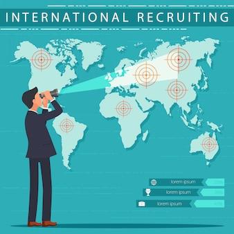 Serviço de recrutamento internacional de banner plano. Vetor Premium