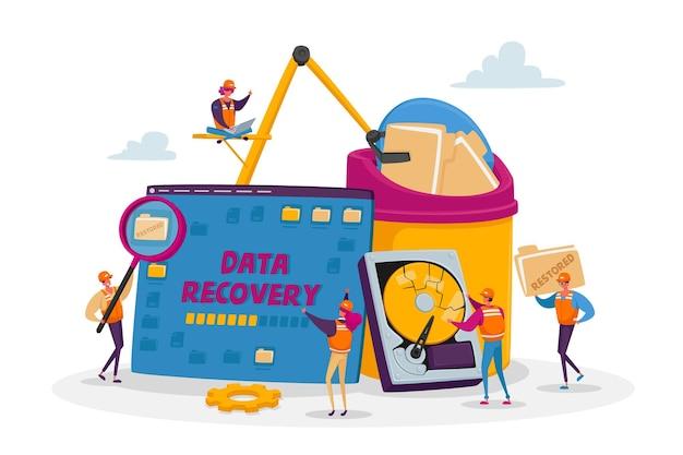 Serviço de recuperação de dados, backup e proteção, conceito de reparo de hardware Vetor Premium