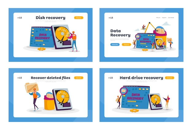 Serviço de recuperação de dados, backup e proteção, conjunto de modelos de página de destino para reparo de hardware