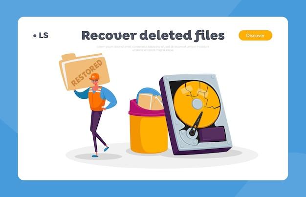 Serviço de recuperação de dados, backup e proteção, modelo de página inicial de reparo de hardware