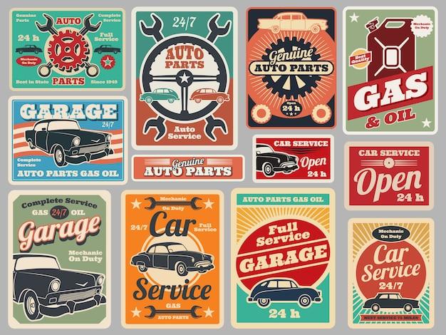 Serviço de reparação de veículos de estrada vintage, posto de gasolina, sinais de vetor de garagem de carro
