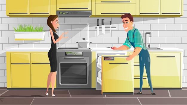 Serviço de reparo de eletrodomésticos cartoon