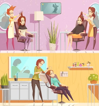 Serviço de salão de cabeleireiro 2 banners horizontais de desenho retrô conjunto com estilos de tratamentos de coloração de corte isolado