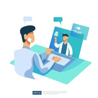 Serviço de saúde online e aconselhamento médico. ligue e converse com o conceito de suporte diagnóstico de médico. modelo para página de destino da web, banner, apresentação, social, cartaz, anúncio, promoção ou mídia impressa