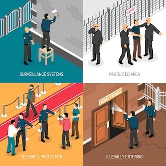 Serviço de segurança 4 isométrica ícones quadrados