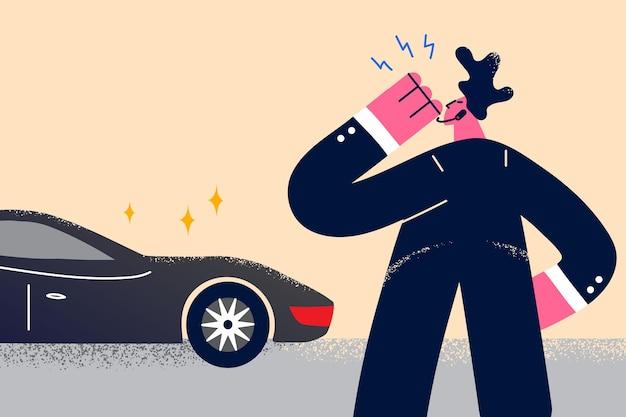 Serviço de segurança do conceito estrela ou empresário. jovem segurança de terno preto em pé usando walkie-talkie para traduzir informações da ilustração vetorial chegada do chefe