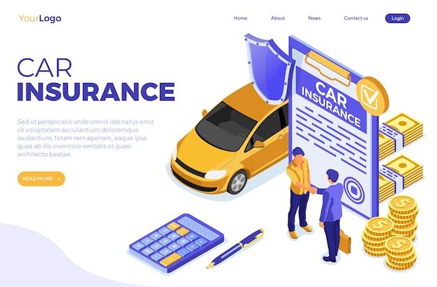 Serviço de seguro automóvel de modelo de página de destino com aperto de mão de pessoas