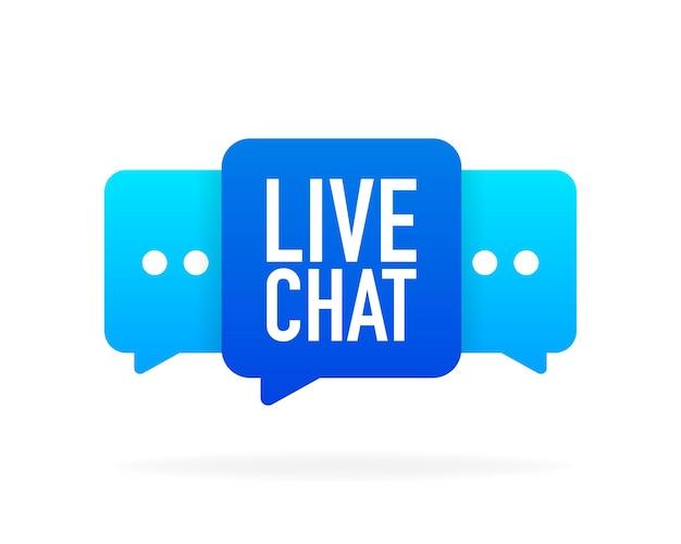 Serviço de suporte. consulta, telemarketing, consultor, secretário banner de chat ao vivo em fundo branco. faixa plana. ilustração vetorial.