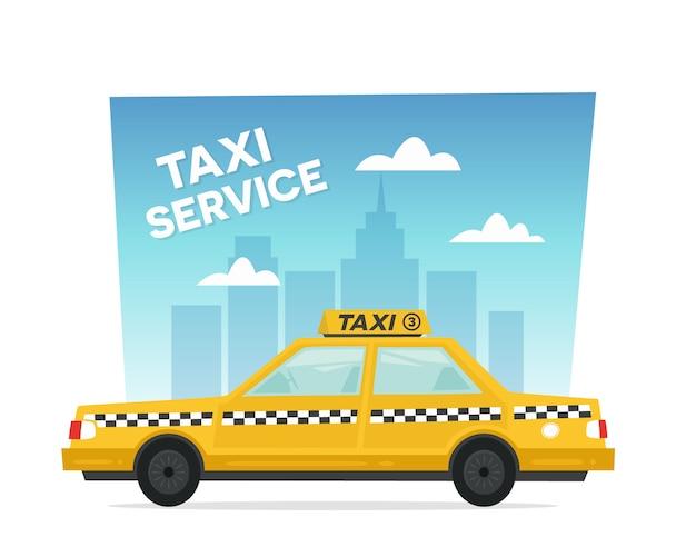 Serviço de táxi amarelo dos desenhos animados
