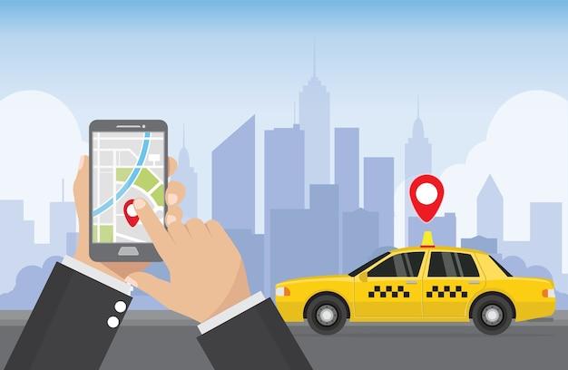 Serviço de táxi. aplicação de táxi.
