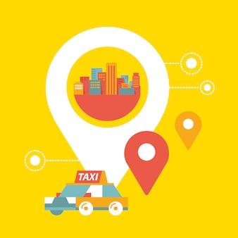 Serviço de táxi e sinal de localização geográfica