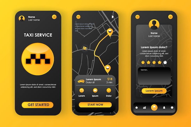 Serviço de táxi kit neomórfico exclusivo para app. reserva on-line de táxi, rota de tráfego no mapa da cidade e classificação do motorista. ui de serviço de transporte, conjunto de modelo de ux. gui para aplicativos móveis responsivos.