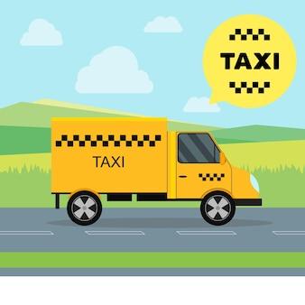 Serviço de táxi movendo carro em uma paisagem de fundo vista lateral de transporte de carga
