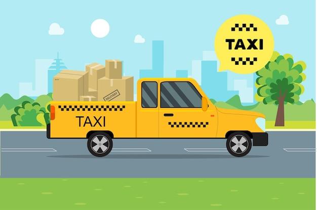 Serviço de táxi movendo carros e caixas de papelão de carga em uma paisagem de fundo