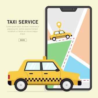Serviço de táxi on-line com ilustração em vetor mapa telefone inteligente
