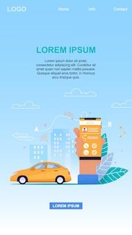 Serviço de táxi on-line tecnologia de aplicativo móvel e reserva de veículos para transferência de passageiros