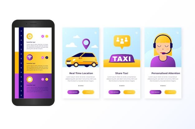 Serviço de táxi onboarding app tela conceito