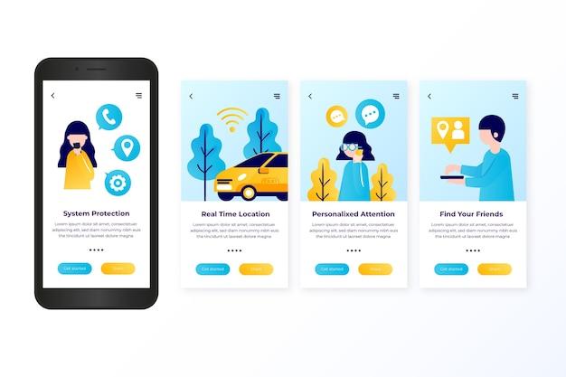 Serviço de táxi onboarding design da tela do aplicativo