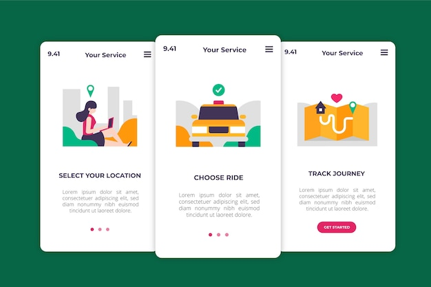 Serviço de táxi onboarding design de telas de aplicativos