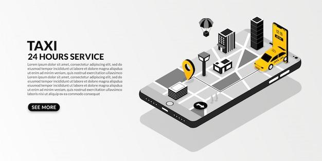 Serviço de táxi online com a metrópole conectada em desenho isométrico