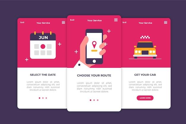 Serviço de táxi para telas de aplicativos integradas
