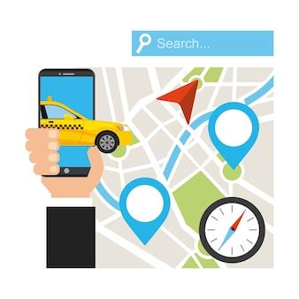 Serviço de táxi transporte público app tecnologia