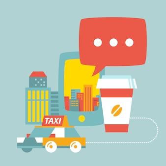 Serviço de táxi, xícara de café, cidade e telefone