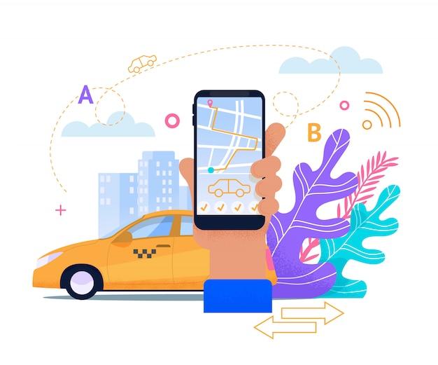 Serviço de telefone móvel on-line de táxi.
