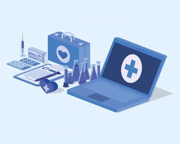Serviço de telemedicina portátil com kit médico e medicamentos