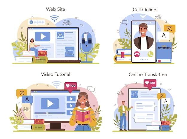 Serviço de tradução online ou conjunto de plataforma linguista traduzindo texto