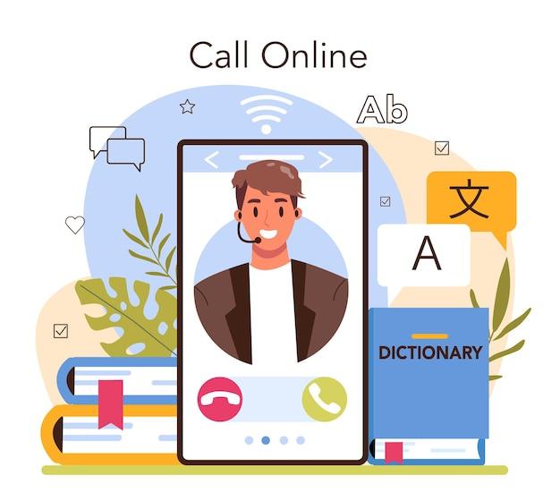 Serviço de tradução online ou linguista de plataforma traduzindo texto