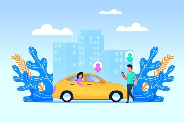 Serviço de transporte carpool e uso de transporte colaborativo com o aplicativo móvel moderno