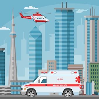 Serviço de transporte de emergência médica de carro e helicóptero de ambulância na cidade, paisagem urbana com ilustração de arranha-céus.