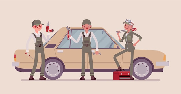 Serviço de veículos motorizados ou estação de ajuste de automóveis