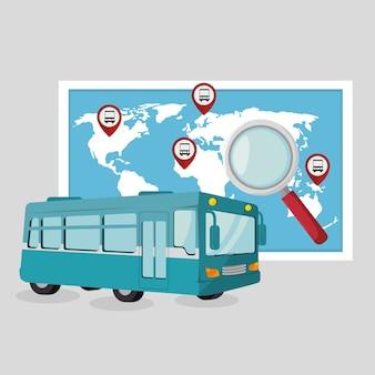 Serviço de viagens de ônibus público vector illustration design