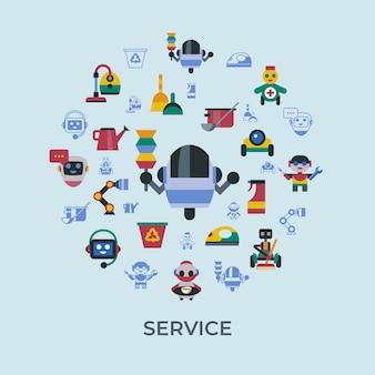 Serviço e limpeza de ícones de robôs em casa