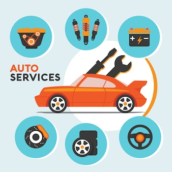 Serviço e manutenção de carro com ícone de peças sobressalentes e info-gráficos