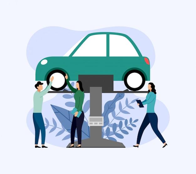 Serviço e reparo de carro, trabalhadores consertando carro, ilustração de negócios