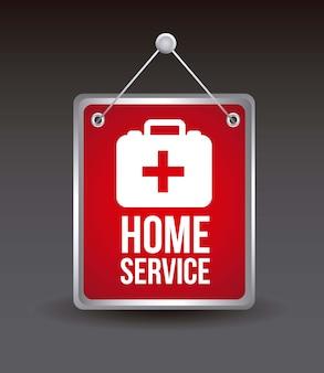 Serviço em casa com ilustração vetorial de caixa médica