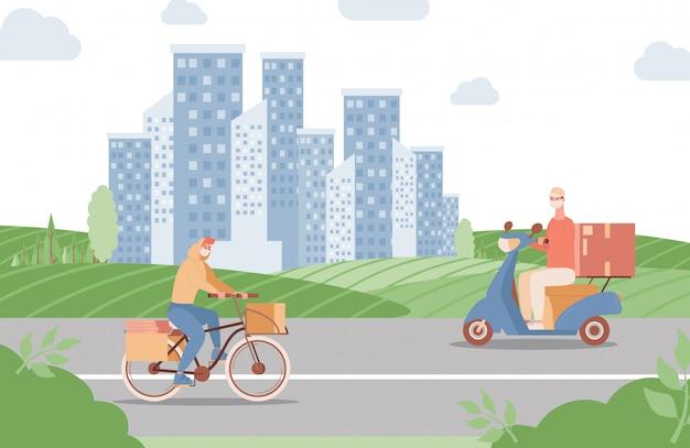 Serviço expresso de entrega em ilustração plana de cidade. homens andando de bicicleta e scooter e entregando alimentos ou mercadorias.
