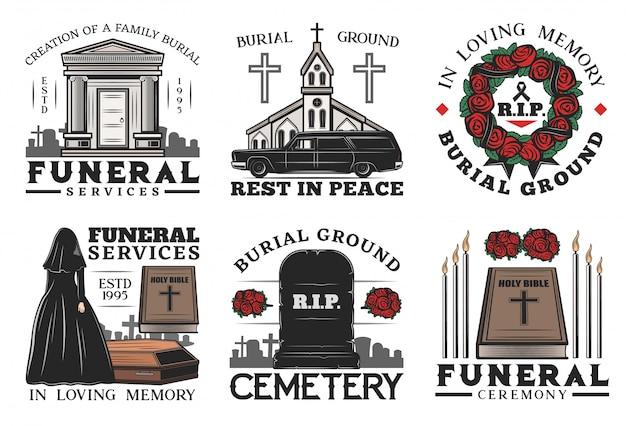 Serviço funerário, caixão, cemitério e lápide