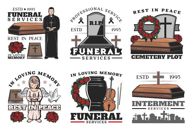 Serviço funerário, caixão, urna, cemitério, lápide