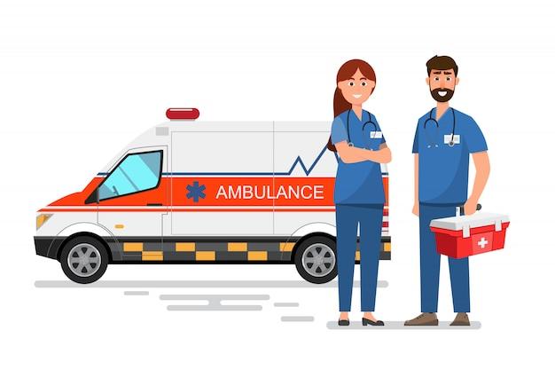 Serviço médico de ambulância transportando paciente com equipe de homem e mulher
