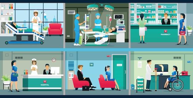 Serviço médico hospitalar com médicos e enfermeiras.