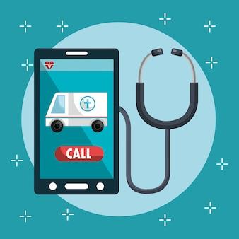 Serviço médico on-line com smartphone