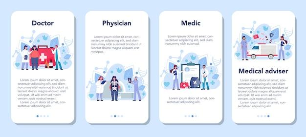 Serviço médico online ou conjunto de plataforma. o terapeuta examina um paciente.